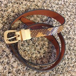 Michael KORS Reversible Snakeskin Leather Belt